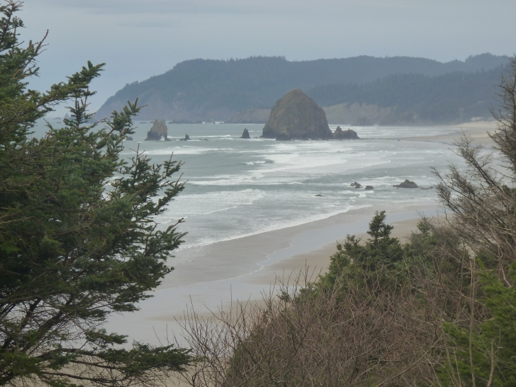 Haystack Rock in Cannon Beach along the Oregon coast.