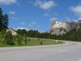 The first view of Mount Rushmore from Highway 16.