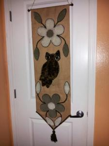 One of several recent owl-themed purchases, now proudly displayed in our living room.