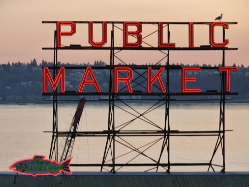 Pike Place Market at sunset.