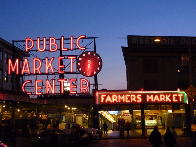 Pike Place Market at dusk.