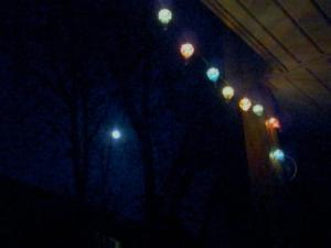 Watching a 95% waxing gibbous moon ride the sky next to our party lights = a great Tuesday evening!