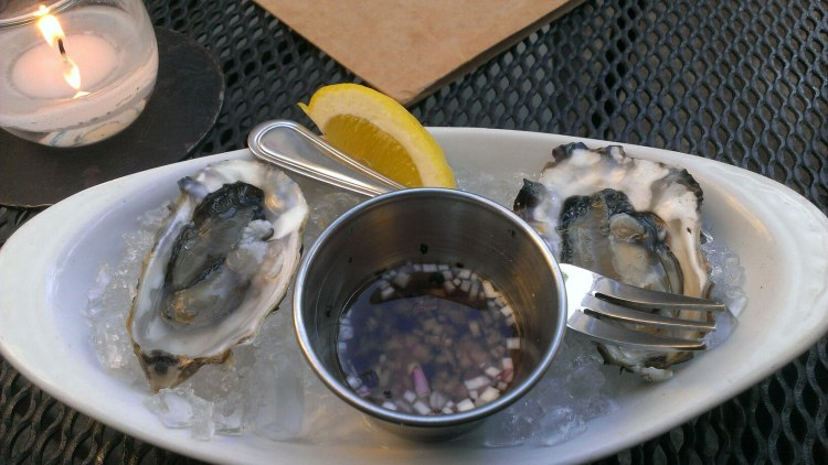 Oysters with mignonette sauce.