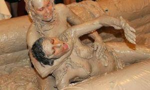 Gratuitous mud wrestling shot.