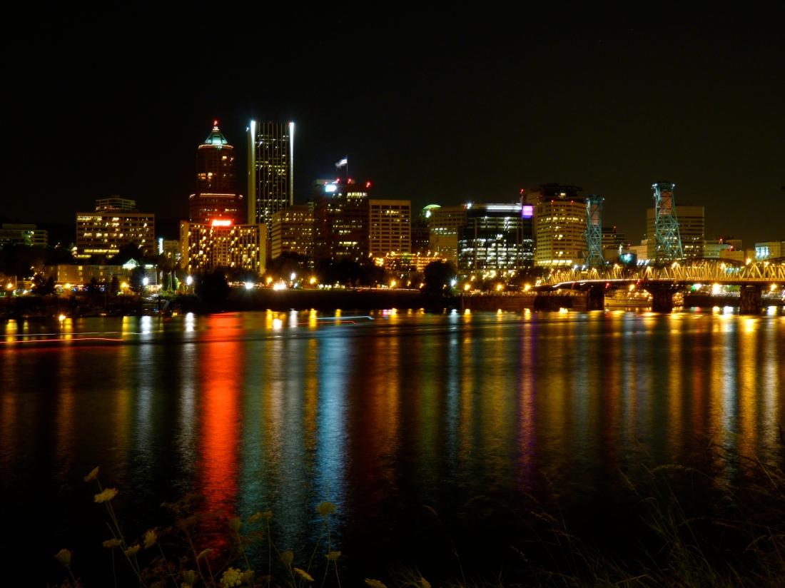Portland skyline at night.