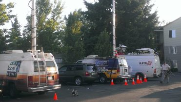 Local news crews on the scene this morning.