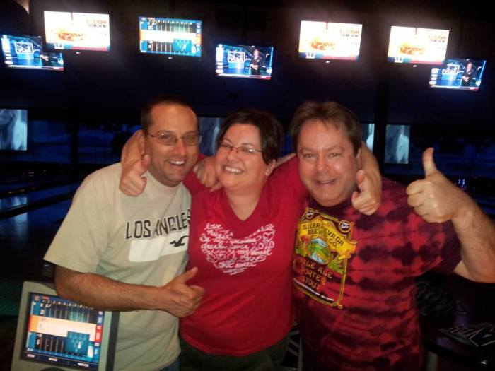 Scott, Tara, and I. About 6 drinks in and halfway through our bowling tournament.