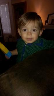 Smiling nephew.