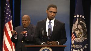 Fake Obama + fake fake sign language interpreter = real event.