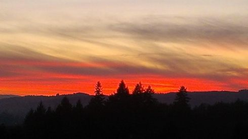 Spectacular sunset over Newberg, OR Christmas Eve.