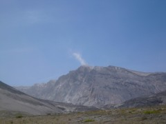 The lava dome was steaming that day.