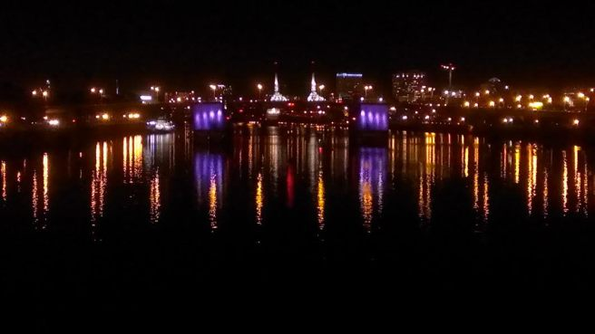 Morrison Bridge reflecting off the Willamette River.
