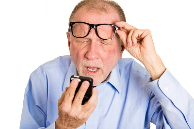 Old man with iphone