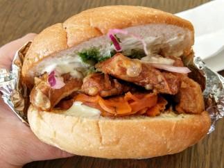 Peruvian pork belly and yam sandwich.